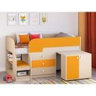 Детская кровать-чердак «Астра 9 V7», цвет дуб молочный/оранжевый