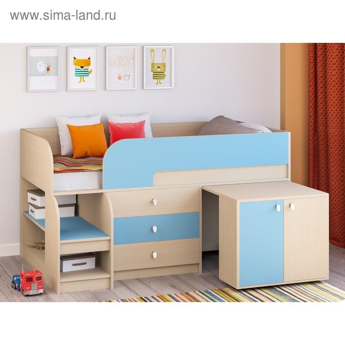 Детская кровать-чердак «Астра 9 V7», цвет дуб молочный/голубой