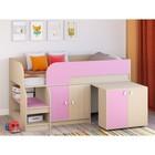 Детская кровать-чердак «Астра 9 V8», цвет дуб молочный/розовый