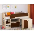 Детская кровать-чердак «Астра 9 V9», цвет дуб молочный/орех