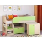 Детская кровать-чердак «Астра 9 V9», цвет дуб молочный/салатовый