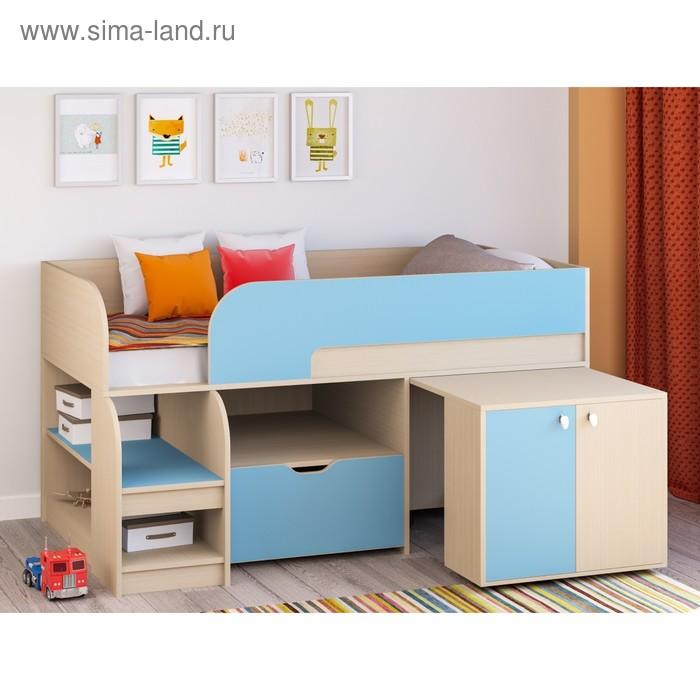 Детская кровать-чердак «Астра 9 V9», цвет дуб молочный/голубой