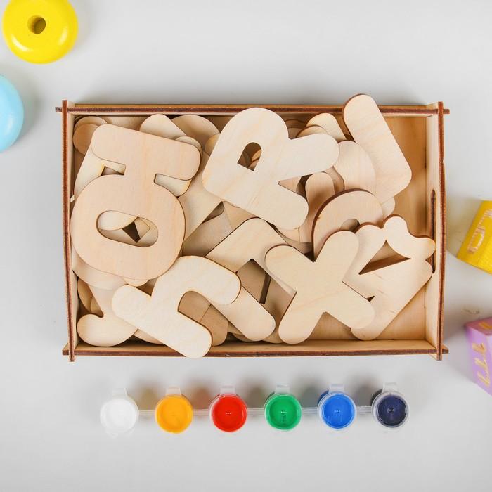 """Набор для росписи """"Буквы-раскраски"""", с красками, размер букв: 5-8 см, толщина: 3 мм"""