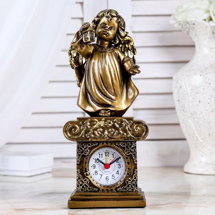 """Часы настольные """"Ангел с фонариком"""", цвет золото, h=25 см"""
