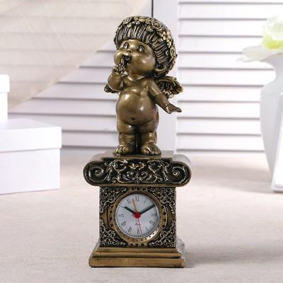 """Часы настольные """"Любопытный ангел"""", цвет золото, h=25.5 см"""