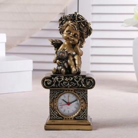 "Table clock ""angel bear"", color gold, h=25.5 cm"