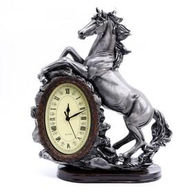 """Часы настольные """"Лошадь"""", цвет  серебро, 40х31х15 см"""