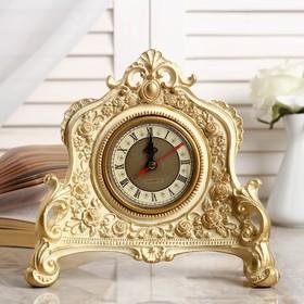 """Часы настольные """"Каминные"""", цвет  белый с позолотой, 21х19х6.5 см"""