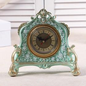 """Часы настольные """"Каминные"""", цвет  бирюзовый, 21х19х6.5 см"""