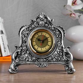 """Часы настольные """"Каминные"""", цвет серебряный,  21х19х6.5 см"""