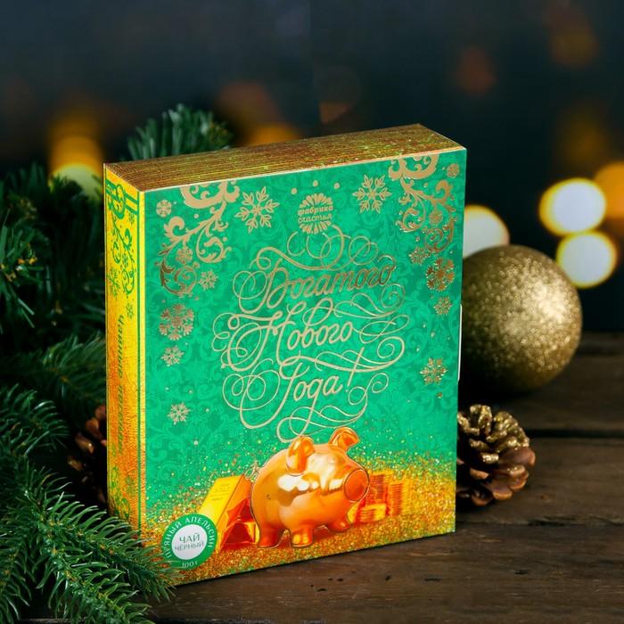 """Чай чёрный в книге, пряный апельсин """"Богатого нового года"""", 100 г"""