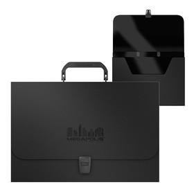 """Папка-портфель 1 отделение ErichKrause """"MEGAPOLIS"""", A4+, 375 x 253 x 42 мм, 1000 мкм, черная"""