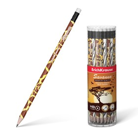 Erich Krause Savanna HB black lead pencil with an eraser, stylus d 2.2 mm, round, made of selected wood, in a tube, mix.