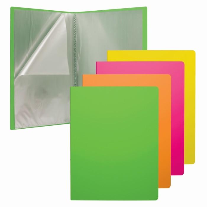 """Папка с 40 прозрачными вкладышами, А4, Erich Krause Neon, текстурой поверхности """"песок"""", микс - фото 404512154"""