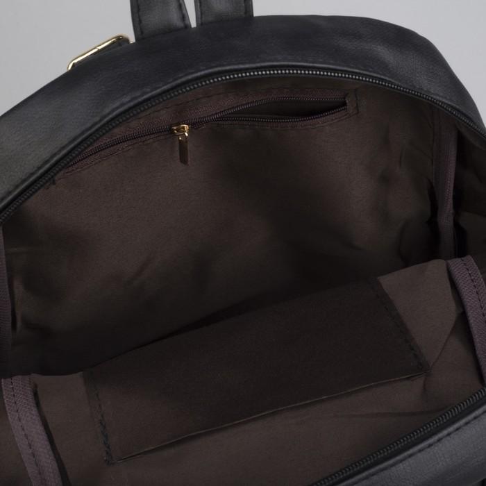 Рюкзак молодёжный, отдел на молнии, 2 наружных кармана, цвет чёрный - фото 545264471