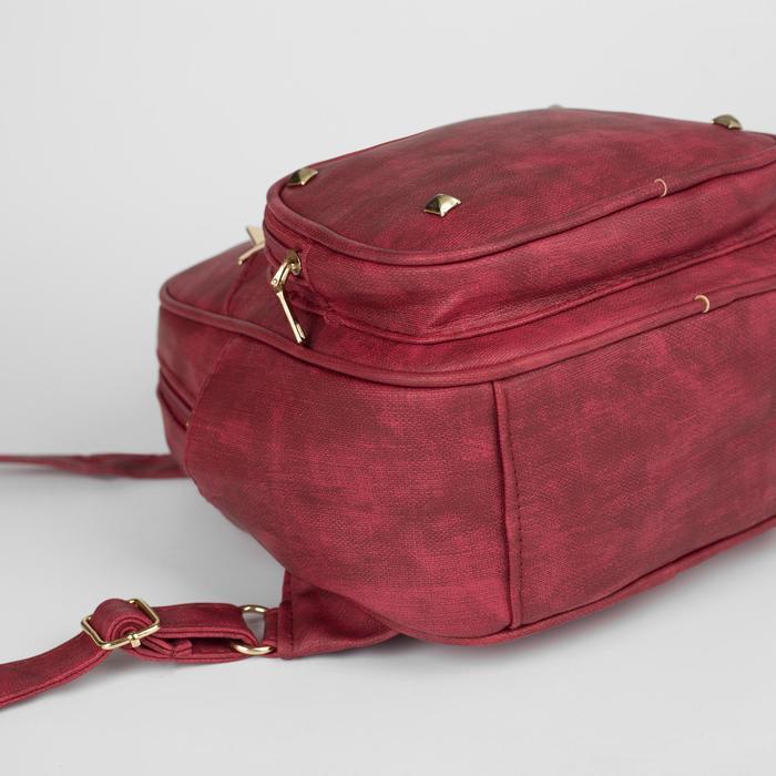 Рюкзак молодёжный, отдел на молнии, 4 наружных кармана, цвет красный - фото 408729582