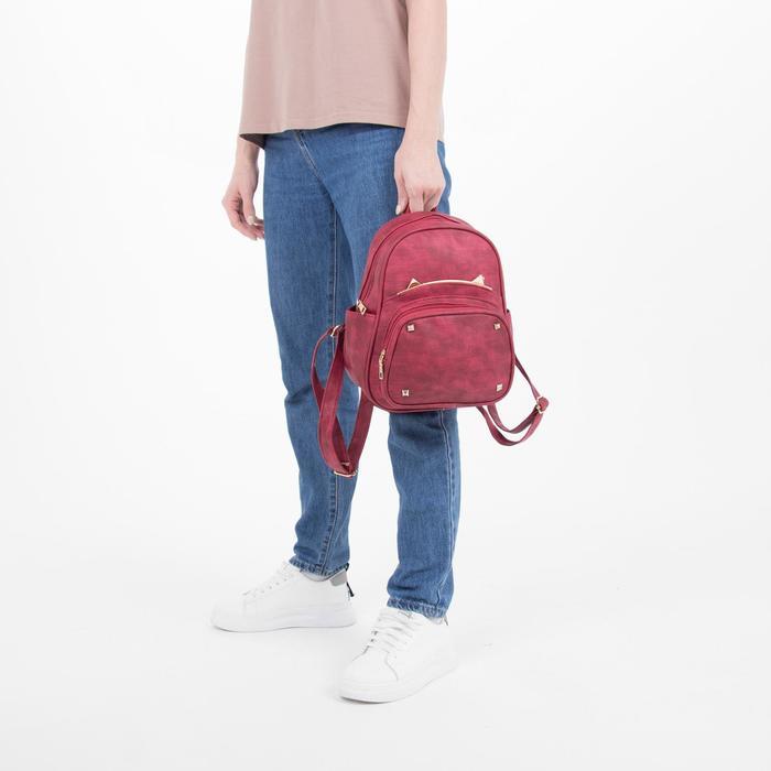Рюкзак молодёжный, отдел на молнии, 4 наружных кармана, цвет красный - фото 408729584