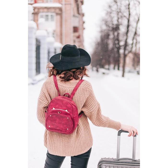 Рюкзак молодёжный, отдел на молнии, 4 наружных кармана, цвет красный - фото 408729579