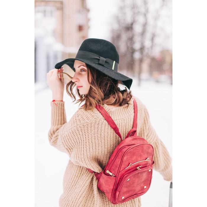 Рюкзак молодёжный, отдел на молнии, 4 наружных кармана, цвет красный - фото 408729585