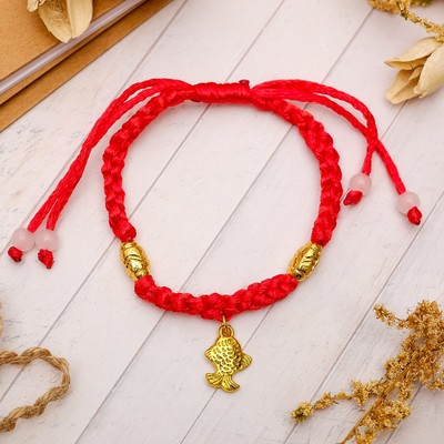 "Charm bracelet ""Braid"" carp, color red"