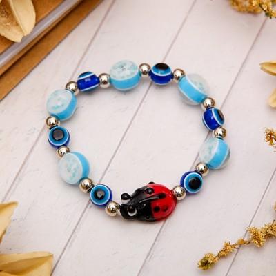 """Charm bracelet """"Children's"""" ladybug, color red-blue"""