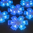 """Гирлянда """"Нить"""" с насадками """"Снежинка матовая"""", 12х12 см, 2 м, LED-36-220V, нить прозрачная, свечение синее"""