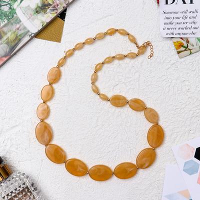 "Beads ""Aesthetics"" ovals, color milky white, 60 cm"