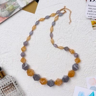 """Beads """"Aesthetics"""" geometry, beige-grey, 70 cm"""