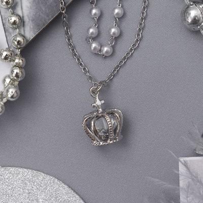 """Колье 2 нити """"Жемчужное"""" корона, цвет белый в серебре, 40 см"""