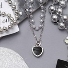 """Колье 2 нити """"Жемчужное"""" сердечко, цвет бело-чёрный в серебре, 40 см"""