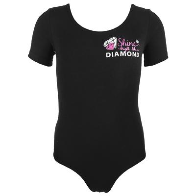 Купальник гимнастический Shine х/б, короткий рукав, размер 32, цвет чёрный