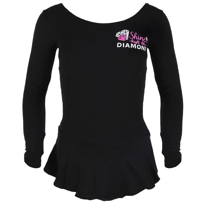 Купальник гимнастический Shine х/б, с юбкой длин.рукав, размер 38, цвет чёрный