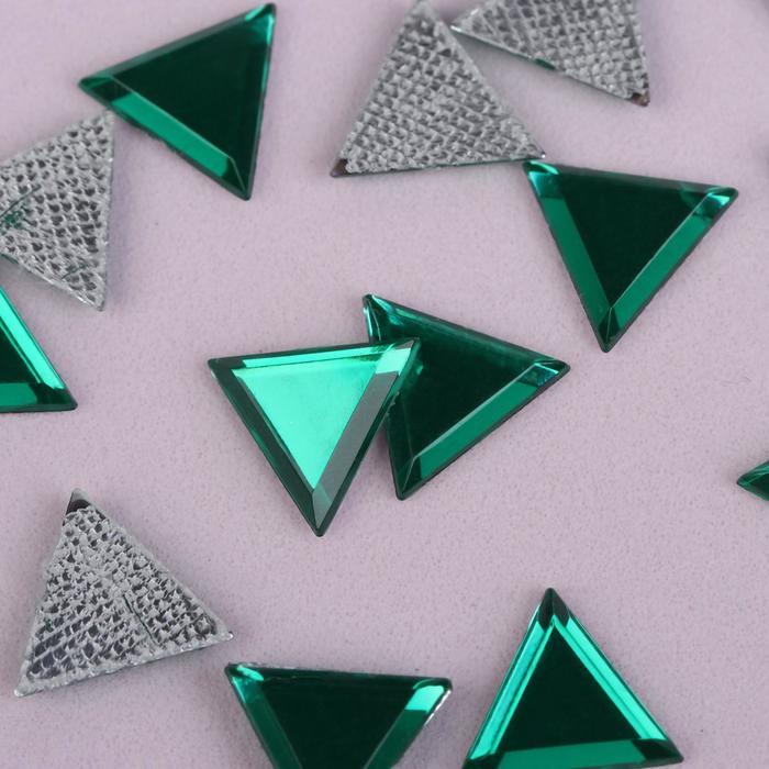 Стразы термоклеевые «Треугольник», 10 × 10 мм, 50 шт, цвет зелёный