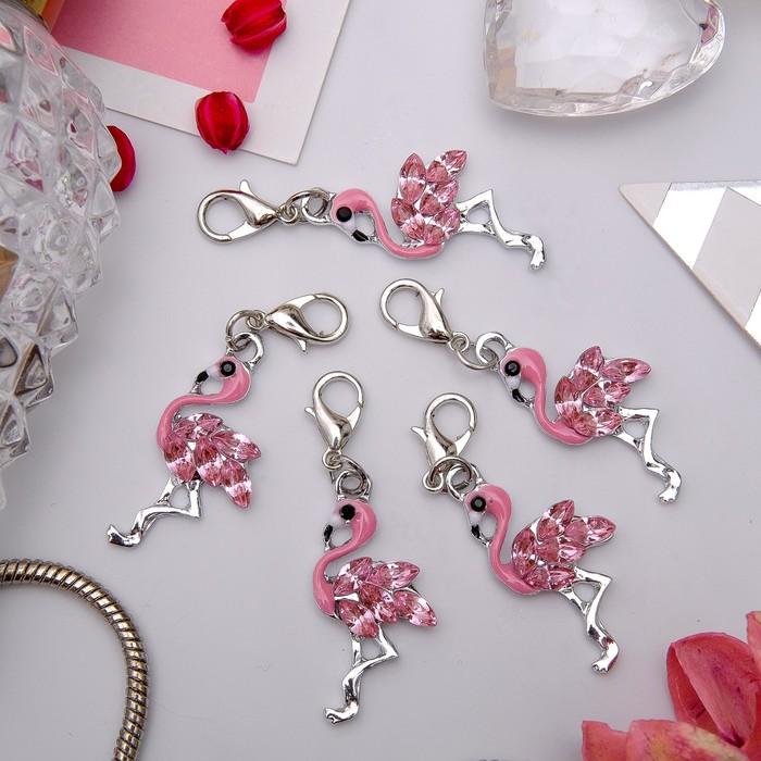 """Шармик """"Фламинго"""", цвет розовый в серебре"""