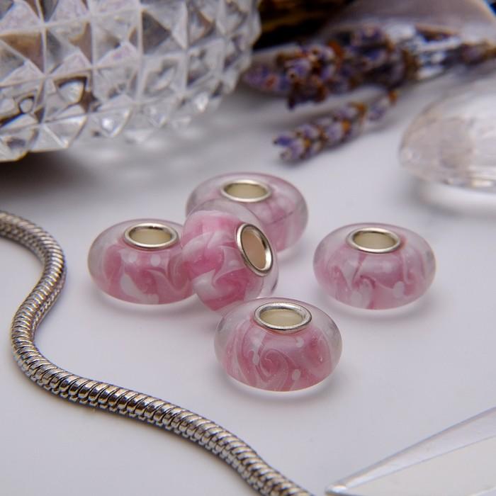 """Бусина """"Зефир"""", цвет бело-розовый в серебре"""