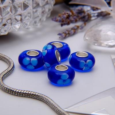 """Бусина """"Орхидея"""", цвет синий в серебре"""