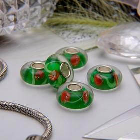 "Bead ""Dandelions"", color green-red"
