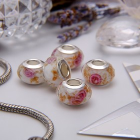 """Bead """"Rose gold"""" color is white-pink in silver"""