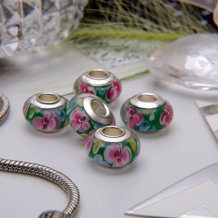 """Бусина """"Цветы"""" флауэр, цвет розово-зеленый в серебре"""
