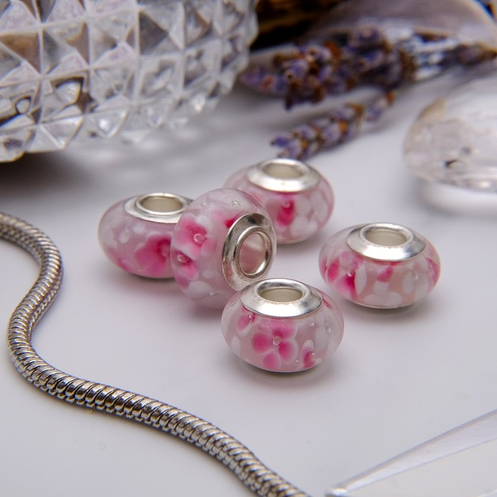 """Бусина """"Цветочная роса"""", цвет бело-розовый в серебре"""