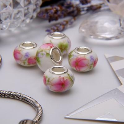 """Бусина """"Розы"""", цвет бело-розовый в серебре"""