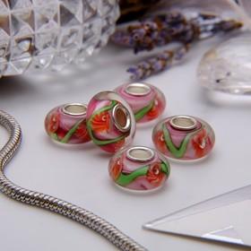 "Bead ""Dandelions"", color red-green"