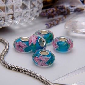 """Bead """"Lily"""", color pink-blue"""