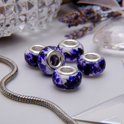 """Бусина """"Чернила"""", цвет бело-фиолетовый в серебре"""