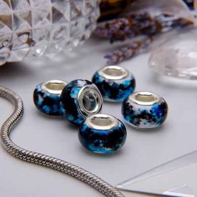 """Бусина """"Чернила"""", цвет бело-голубой в серебре"""