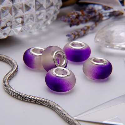 """Бусина """"Градиент"""", цвет бело-фиолетовый в серебре"""