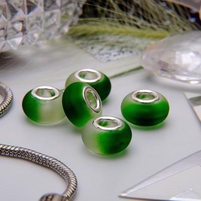 """Бусина """"Градиент"""", цвет бело-зеленый в серебре"""
