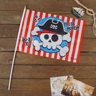 "Флаг пирата ""Гроза морей"" 30х45 см+ флагшток"
