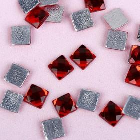 """Rhinestones hot glue """"Square"""", 100pcs 6 x 6mm, color red"""
