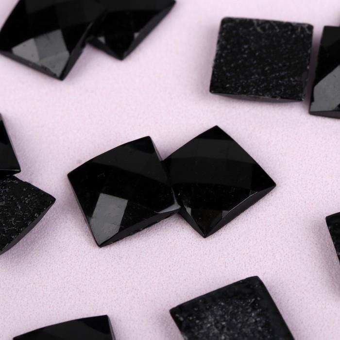 Стразы термоклеевые «Квадрат», 10 × 10 мм, 20 шт, цвет чёрный